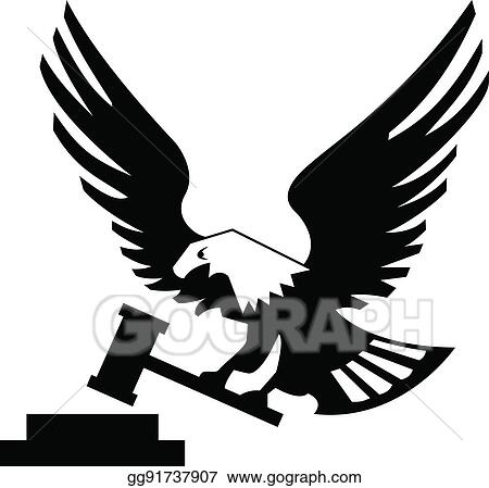 Clip Art Vector Eagle Bird With Hammer And Anvil Isolated On White