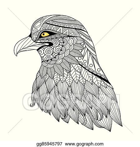 EPS Vector - Eagle coloring page. Stock Clipart Illustration ...