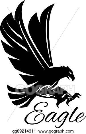 Vector Illustration Eagle Hawk Vector Black Heraldic Icon Stock