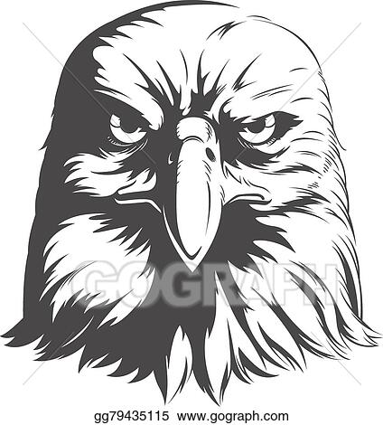 vector art eagle head vector front view silhouette clipart rh gograph com bald eagle head clipart Eagle Clip Art Black and White
