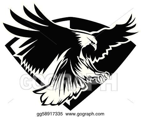Vector Stock - Eagle mascot flying  Clipart Illustration
