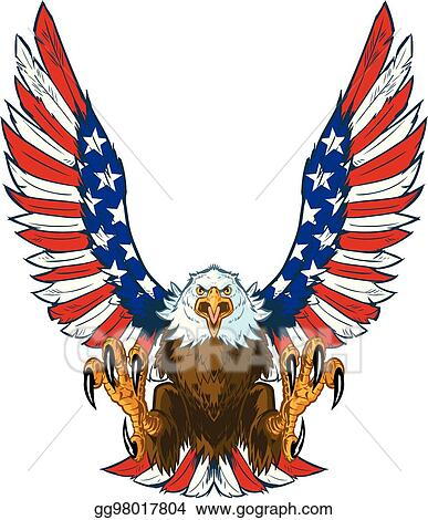 vector art eagle with american flag wings eps clipart gg98017804 rh gograph com