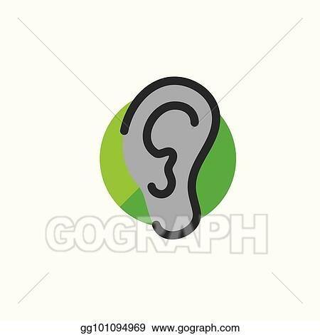 vector art ear and ear canal outline icon image for hearing