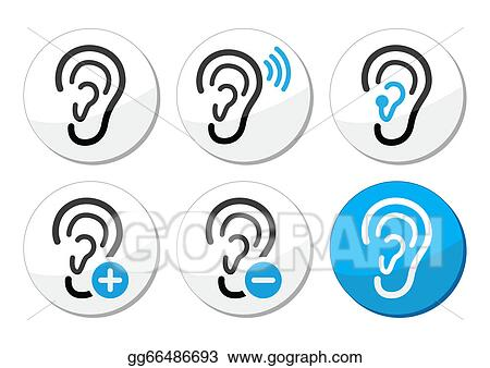 Vector Art Ear Hearing Aid Deaf Problem Icons Clipart Drawing