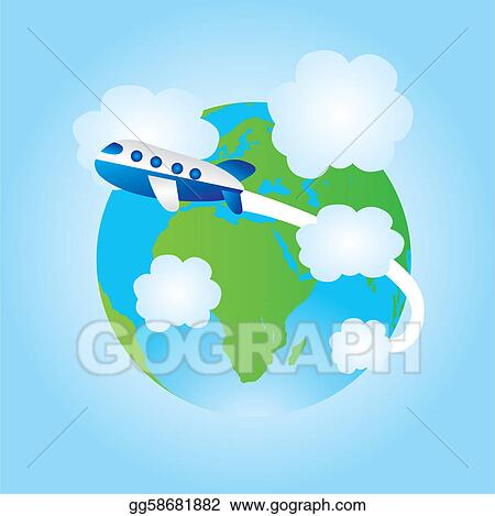 Vector Illustration Earth And Airplane Cartoon Eps Clipart