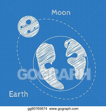 Vector art earth and moon blueprint grid background graphing earth and moon blueprint grid background graphing paper for engineering in vector malvernweather Images