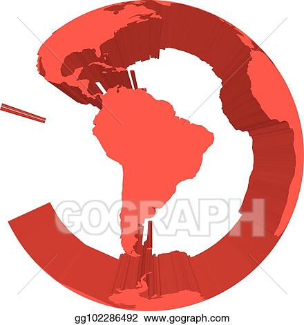 Map Of America 3d Vector.Vector Art Earth Globe Model With Red Extruded Lands Focused On
