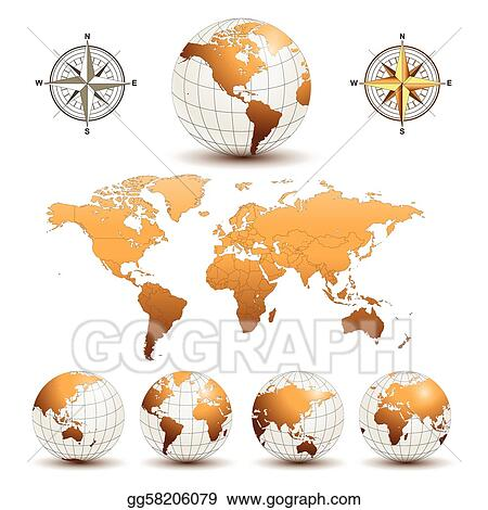 Vector art earth globes with world map clipart drawing gg58206079 earth globes with world map gumiabroncs Images