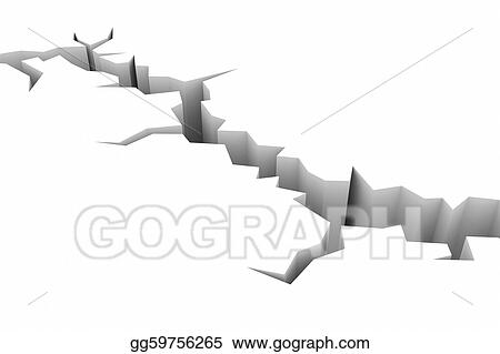 Clipart - Earth ground crack on white. earthquake. Stock ...