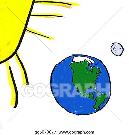 stock illustration earth moon sun clipart drawing gg5070077 gograph rh gograph com earth sun and moon clip art Earth and Moon Cartoon