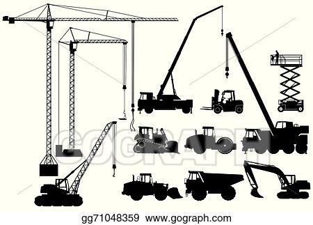 Line Art Earth : Vector art earth moving machinery and crane clipart drawing