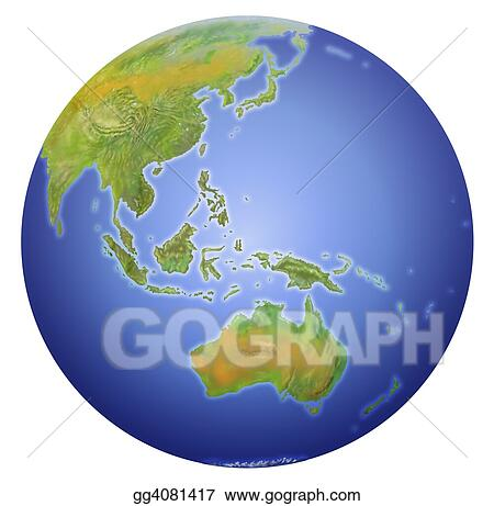 Clipart earth showing australia new zealand asia and the south earth showing australia new zealand asia and the south pole gumiabroncs Image collections