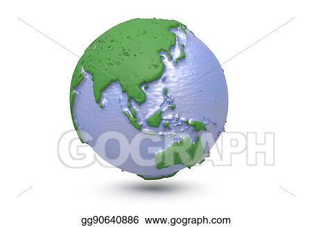 Stock Illustration Earth World Map Polygonal Globe Asia 3d
