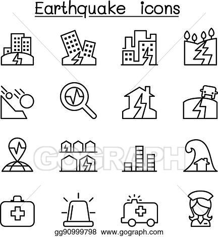 Vector Art Earthquake Icon Set In Thin Line Style Clipart Drawing
