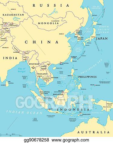 Map Of Asia Political With Capitals.Vector Stock East Asia Political Map Stock Clip Art Gg90678258
