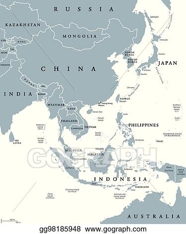 Political Map Of Asia Continent.Vector Stock East Asia Political Map Stock Clip Art Gg98185948