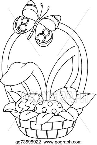 Vector Illustration - Easter basket coloring page. Stock ...