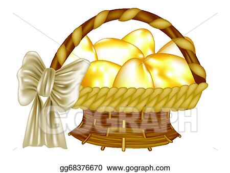 Easter Basket With Golden Eggs