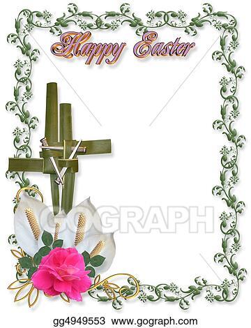 Stock Illustration - Easter border religious cross symbo ...