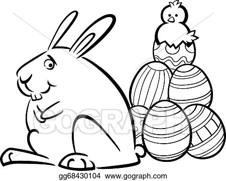 Vector Clipart Easter Bunny And Eggs Coloring Page Vector