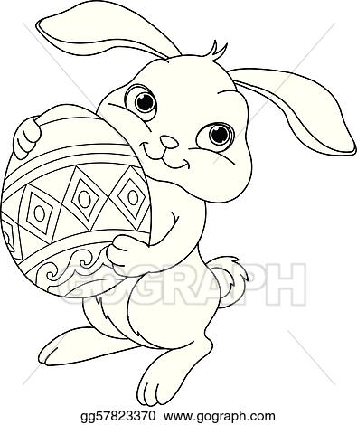EPS Illustration - easter bunny. coloring page. Vector Clipart ...