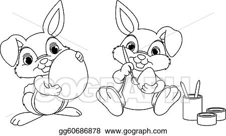 Clip Art Vector - Easter bunny coloring page. Stock EPS gg60686878 ...