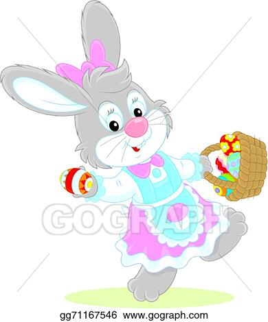 Easter Bunny in Basket on a Dress