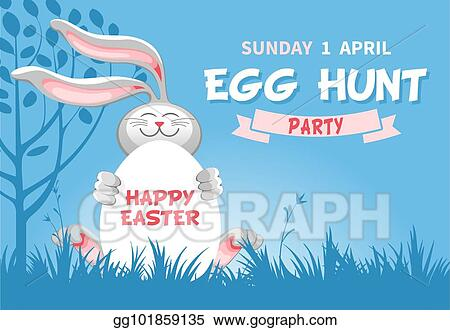 Vector Art - Easter egg hunt flyer template. Clipart Drawing ...