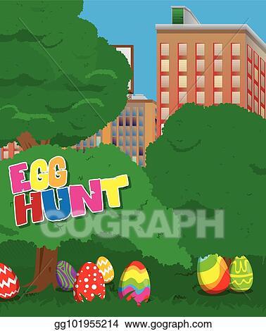 EPS Vector Easter Egg Hunt Invitation Stock Clipart Illustration