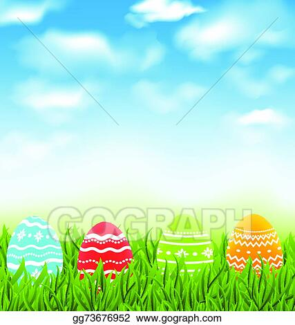 vector stock easter natural landscape with traditional colorful