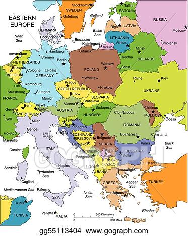 Vector Art - Eastern europe with editable countries, names. Clipart ...