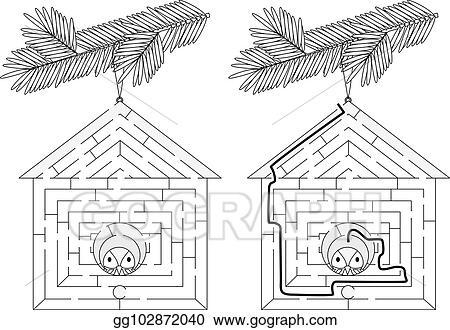 Eps Illustration Easy Bird House Maze Vector Clipart