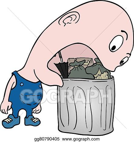 vector art eating garbage clipart drawing gg80790405 gograph rh gograph com garbage truck clip art garbage bag clipart
