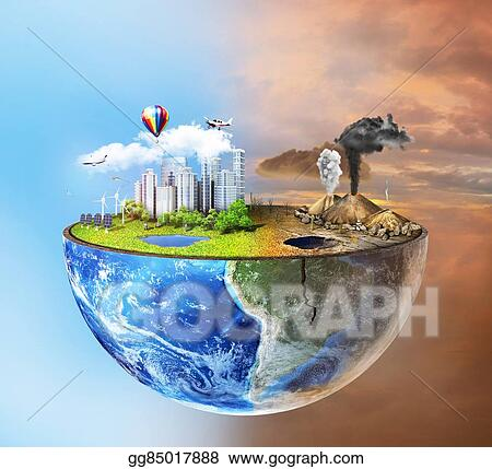 Stock Illustration - Eco concept  half sphere of earth with