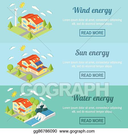 Vector Art - Eco energy horizontal banner set with low-energy houses