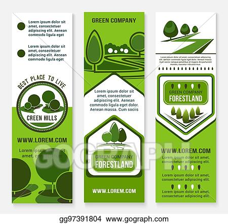 Clip Art Vector Eco Green Business Banner Template With Tree