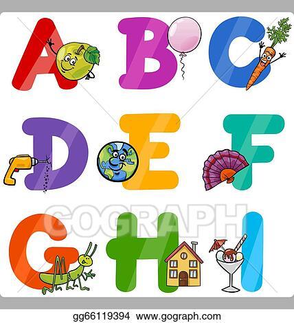Vector Illustration Education Cartoon Alphabet Letters For Kids Eps Clipart Gg66119394 Gograph