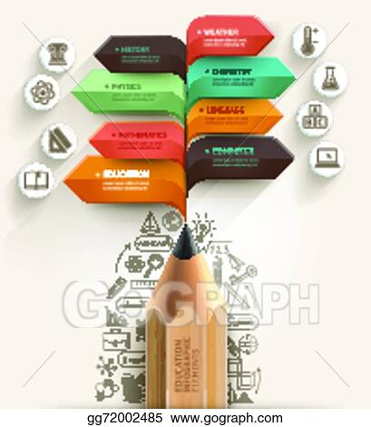 vector illustration education concept pencil and bubble speech