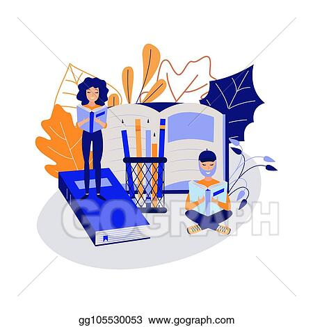 Vector Art Education Concept With Young Students Reading