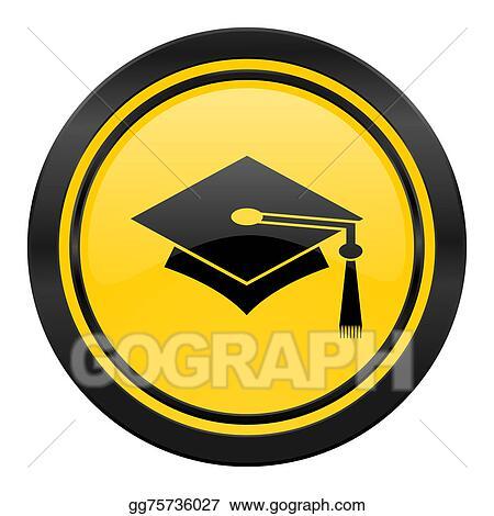 clipart education icon yellow logo graduation sign stock