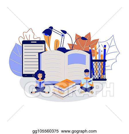 Vector Illustration Education Process With Young Students