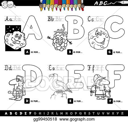 Clip Art Vector - Educational cartoon alphabet letters coloring book ...
