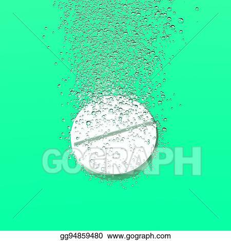 Clip Art Effervescent Tablet Dissolbving Stock Illustration