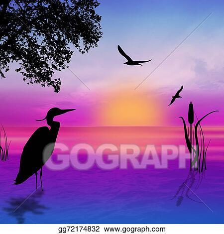 stock illustrations egret silhouette on sunset stock clipart