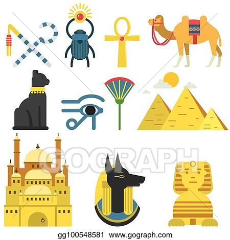Vector Art Egypt Collection Set With Traditional Symbols Of