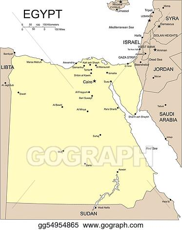 Vector Illustration - Egypt, major cities and capital. EPS Clipart ...
