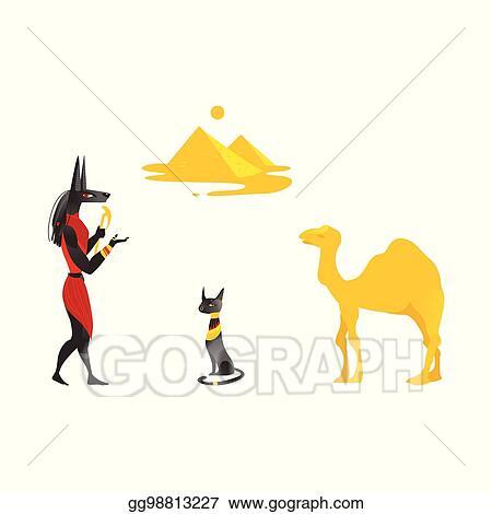 Eps Vector Egypt Symbols Anubis Black Cat Camel Pyramids