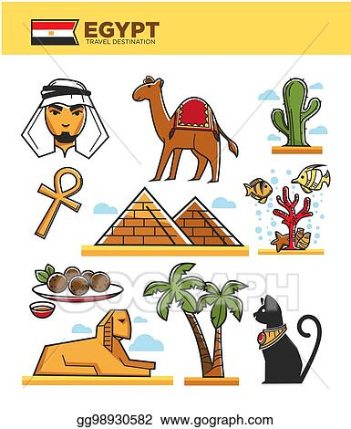 Vector Art Egypt Travel Tourism Landmarks And Culture Tourist