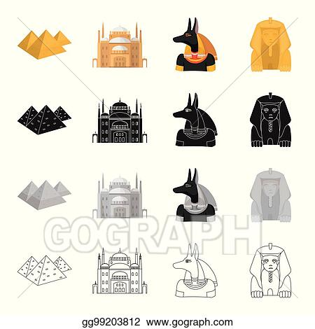 EPS Vector - Egyptian pyramids, cairo palace, statue of