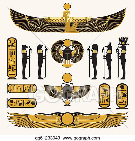 Vector Illustration Egyptian Symbols And Decorations Eps Clipart